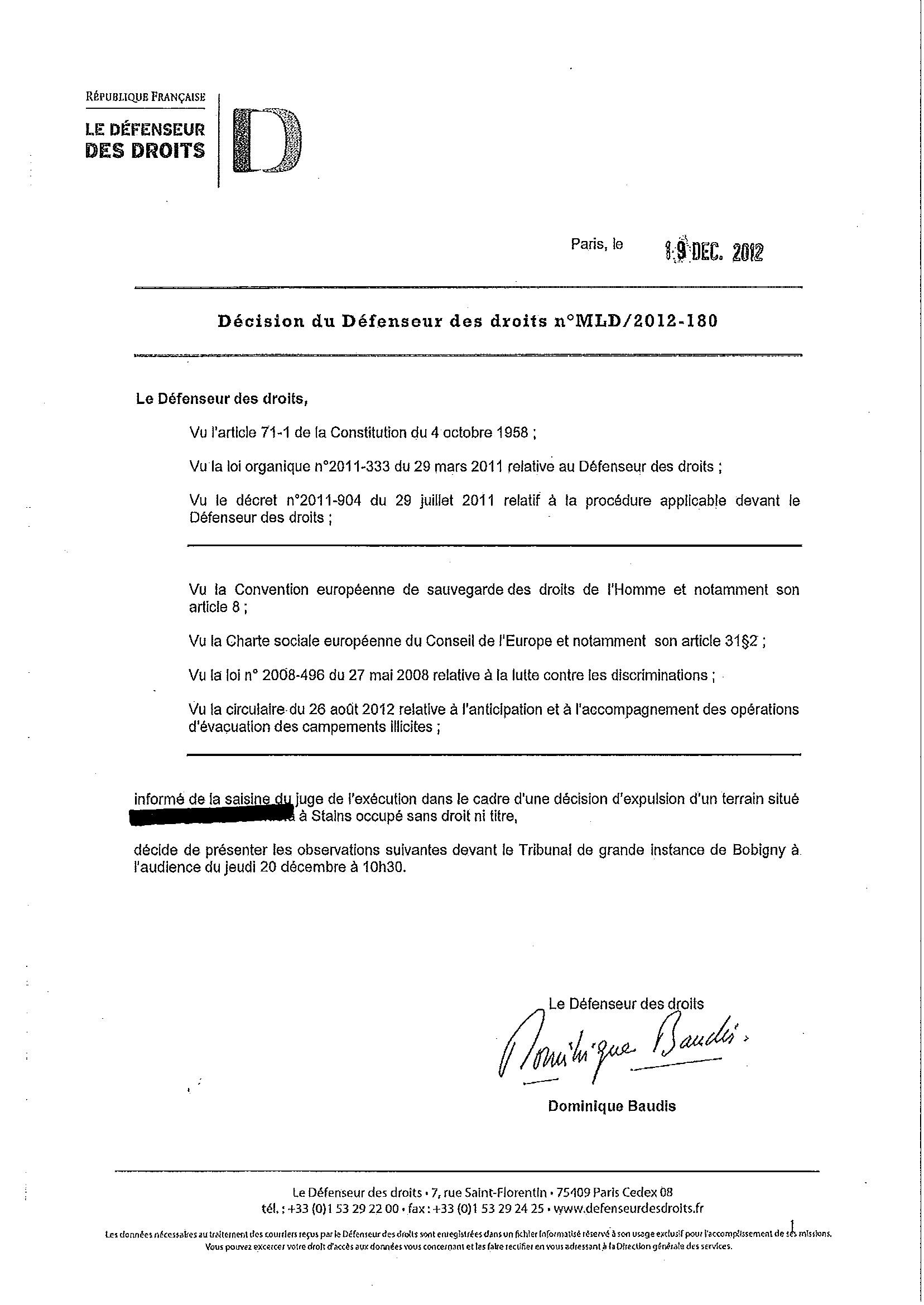 Intervention du Défenseur des droits et décision du Tribunal